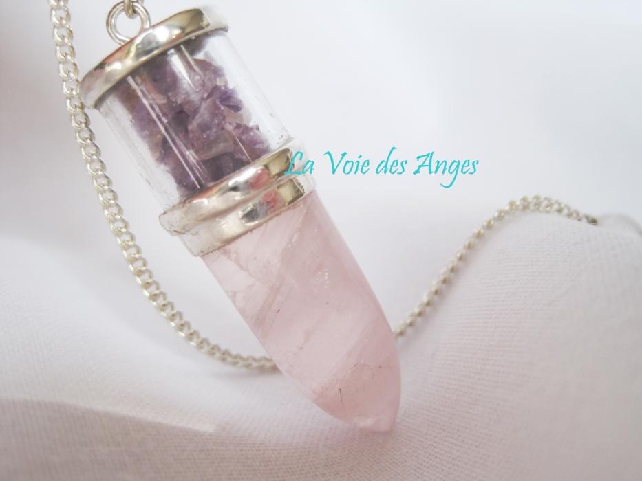 Pendule Quartz Rose Et Amethyste Pendules Catalogue2 La Voie Des Anges Ventes En Ligne De Produits Esoteriques